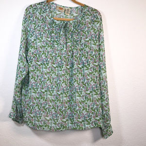 Route 66 Sheer Blouse Size XL ruffles and buttons